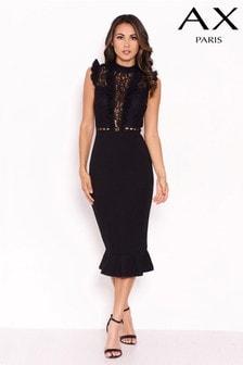 Koronkowa sukienka bodycon Lipsy z falbankami w górnej części