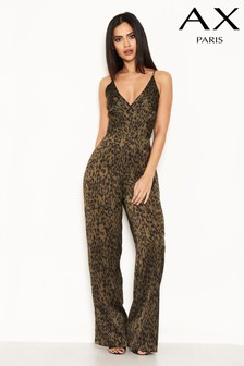 AX Paris Satin Animal Print Strappy V neck Jumpsuit