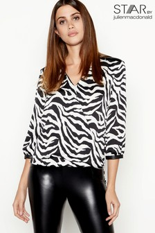 Star By Julien Macdonald Zebra Print Wrap Top