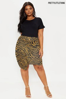 PrettyLittleThing Curve Tiger Print Dress