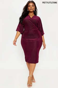 PrettyLittleThing Curve Velvet Pleat Midi Dress