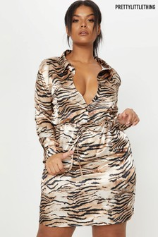 PrettyLittleThing Curve Tiger Button Dress