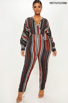 PrettyLittleThing Curve Striped Jumpsuit