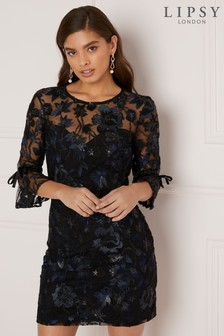 Lipsy Petite Embroided Sequin Shift Dress