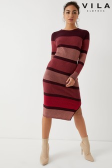 Vila Long Sleeve Midi Knit Dress