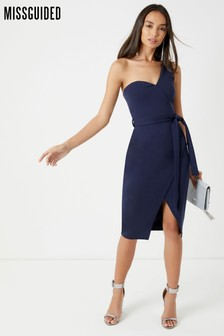 Missguided One Shoulder Tie Midi Dress