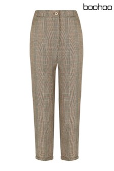 Boohoo Petite Checked Tapered Trousers