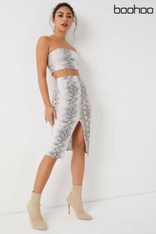 Boohoo Petite Snake Print Midi Skirt Co-ord