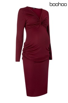 Boohoo Maternity Twist Front Midi Dress
