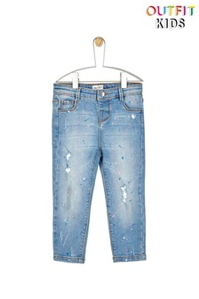Outfit Kids Toddler Girls Paint Splattered Jeans
