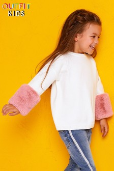 Outfit Kids Toddler Girls Fur Cuffs Knit Jumper