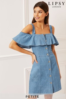 Lipsy Petite Denim Cold Shoulder Ruffle Dress