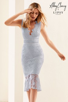 Robe moulante Abbey Clancy x Lipsy Cornflower en dentelle