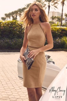 Abbey Clancy x Lipsy Suedette Halterneck Dress