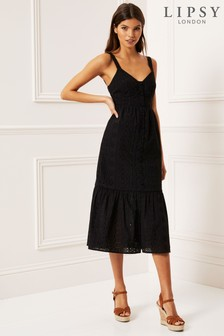 Lipsy Embroidered Tier Midi Dress