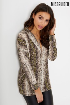 Missguided Snake Print V neck Oversized Blouse
