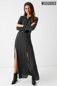 Missguided Polka Dot Maxi Shirt Dress