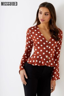 Missguided Polka Dot Satin Peplum Top