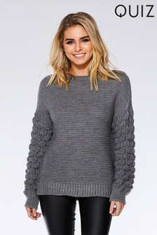 Quiz Knitted Bubble Detail Long Sleeve Jumper