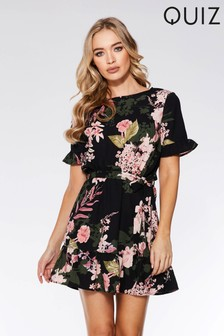 2a195f1da4 Quiz Floral Print Frill Skater Dress