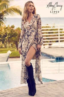 Abbey Clancy x Lipsy Petite Snake Lurex Maxi Dress
