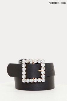 PrettyLittleThing Square Diamanté Buckle Belt