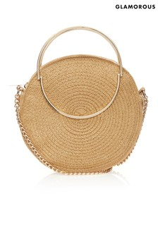 Glamorous Straw Circle Cross Body Bag
