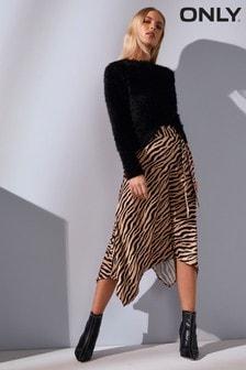 Only Zebra Print Midaxi Skirt