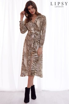 Lipsy Animal Print Midi Shirt Dress