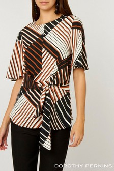 Dorothy Perkins Tall Stripe Knot Front Top