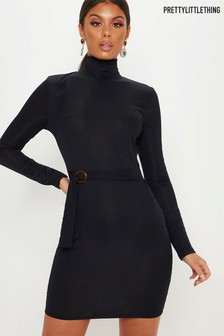 PrettyLittleThing Rib Belted Bodycon Dress