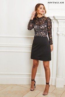 Sistaglam Lace Long Sleeve Skater Dress