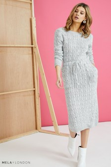 Mela London Cable Knit Midi Dress