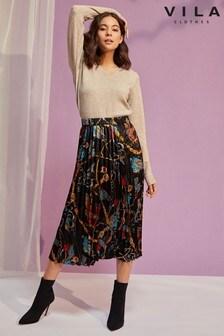 Vila Printed Midi Skirt