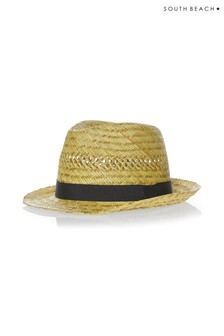 South Beach Small Straw Fedora Hat