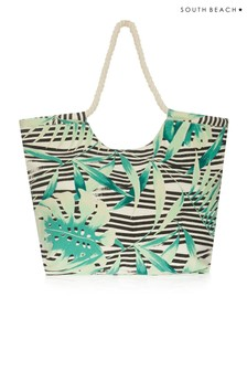 South Beach Tropical Striped Print Beach Bag