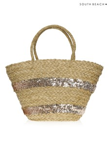 South Beach Straw Tote Sequin Beach Bag