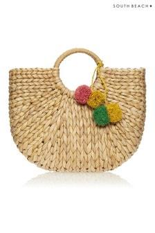 South Beach Pom Pom Straw Bag