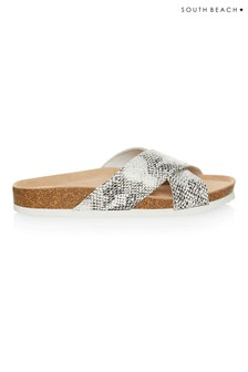 South Beach Snake Print Cross Over Sandals