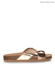 South Beach Shiny Cross Over Sandals