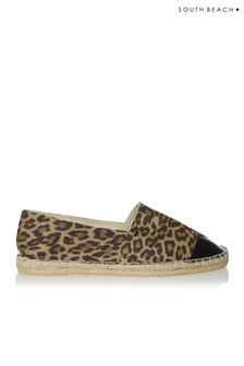 South Beach Espadrilles mit Leopardenmuster