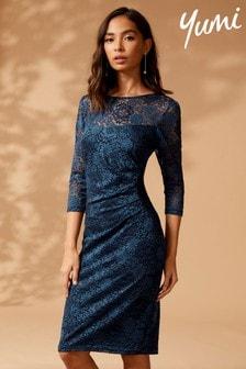 Yumi Gathered Side Lace Bodycon Dress
