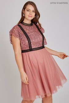 Little Mistress Curve Crochet Lace Top Dress