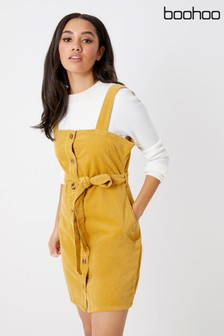 Boohoo Cord Belted Button Through Pinafore Dress