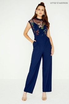 Little Mistress Mesh Embroidered Jumpsuit