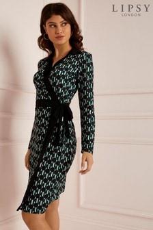 Sukienka kopertowa midi Lipsy Petite w geometryczne wzory