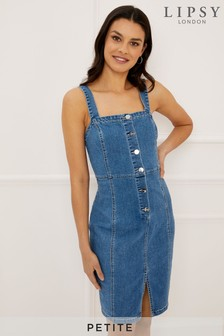 Lipsy Petite Button Through Denim Bodycon Dress