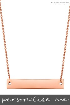 Personalised 14ct Rose Gold Engravable Horizontal Bar Pendant by Simply Silver