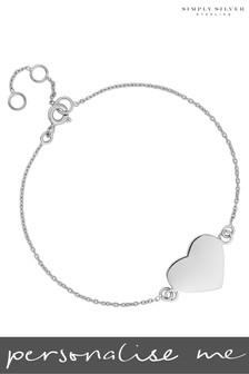 Personalised Silver Engravable Heart Disc Bracelet by Simply Silver