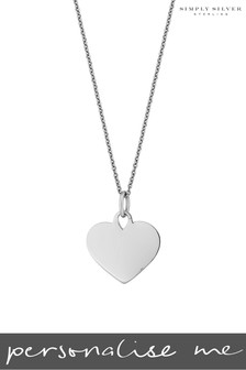Personalised Sterling Silver Engravable Heart Disc Pendant by Simply Silver